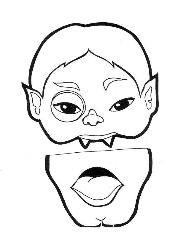 Halloween Day, : Count Dracula Mask for Halloween Day Coloring Page