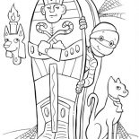 Halloween Day, Egyptian Mummy And His Cat On Halloween Day Coloring Page: Egyptian Mummy and His Cat on Halloween Day Coloring Page