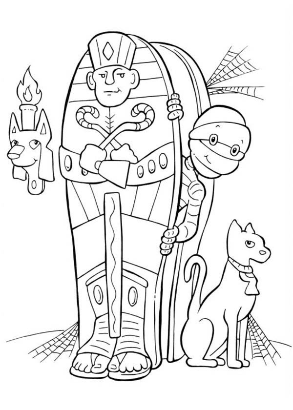 Halloween Day, : Egyptian Mummy and His Cat on Halloween Day Coloring Page