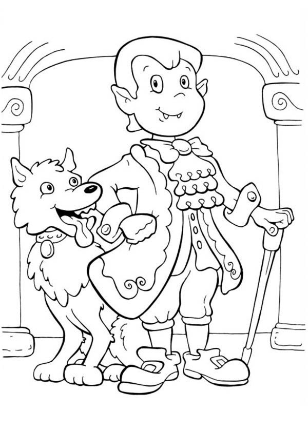 Halloween Day, : Elegant Count Dracula and Funny Werewolf on Halloween Day Coloring Page