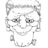Halloween Day, Mr Frankenstein Head On Halloween Day Coloring Page: Mr Frankenstein Head on Halloween Day Coloring Page
