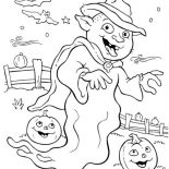 Halloween Day, Wierd White Ghost On Halloween Day Coloring Page: Wierd White Ghost on Halloween Day Coloring Page