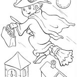 Halloween Day, Young Witch Flee With Her Broomstick On Halloween Day Coloring Page: Young Witch Flee with Her Broomstick on Halloween Day Coloring Page