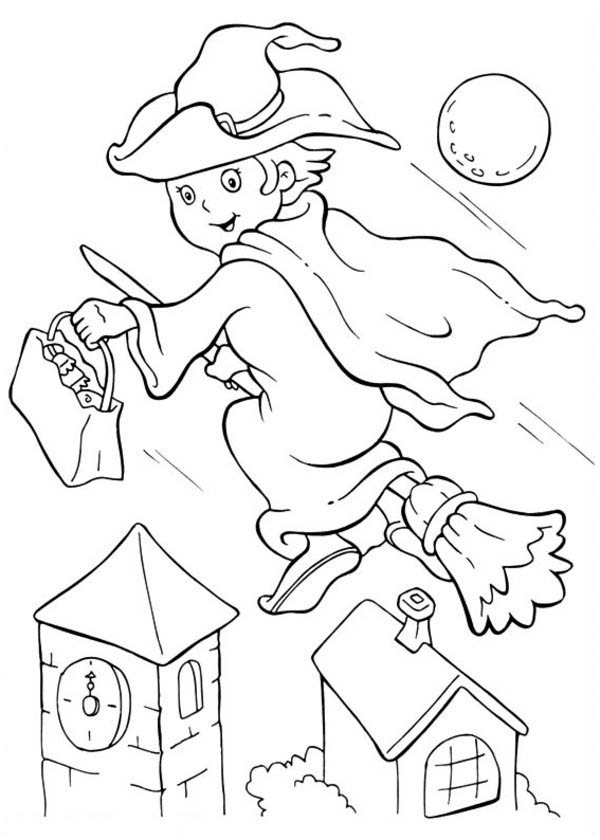Halloween Day, : Young Witch Flee with Her Broomstick on Halloween Day Coloring Page