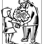 Veterans Day, A Little Girl Handling Flower To Veteran Celebrating Veterans Day Coloring Page: A Little Girl Handling Flower to Veteran Celebrating Veterans Day Coloring Page