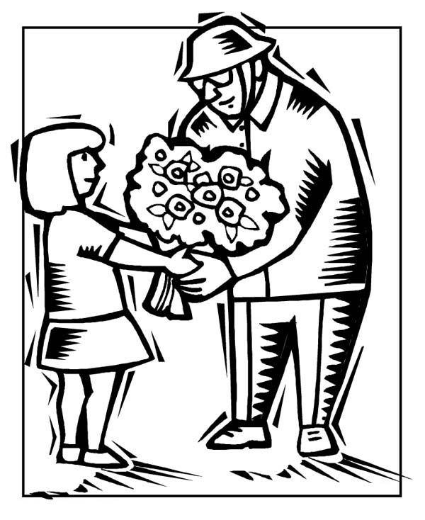 Veterans Day, : A Little Girl Handling Flower to Veteran Celebrating Veterans Day Coloring Page