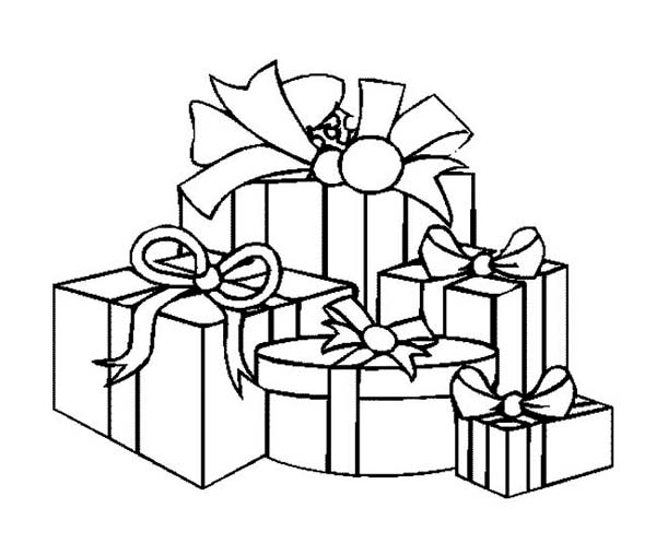 Christmas, : A Packed of Christmas Presents on Christmas Coloring Page
