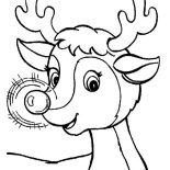 Christmas, A Sweet Christmas Reindeer With Glowing Nose On Christmas Coloring Page: A Sweet Christmas Reindeer with Glowing Nose on Christmas Coloring Page