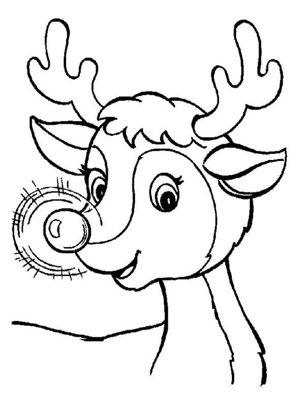Christmas, : A Sweet Christmas Reindeer with Glowing Nose on Christmas Coloring Page