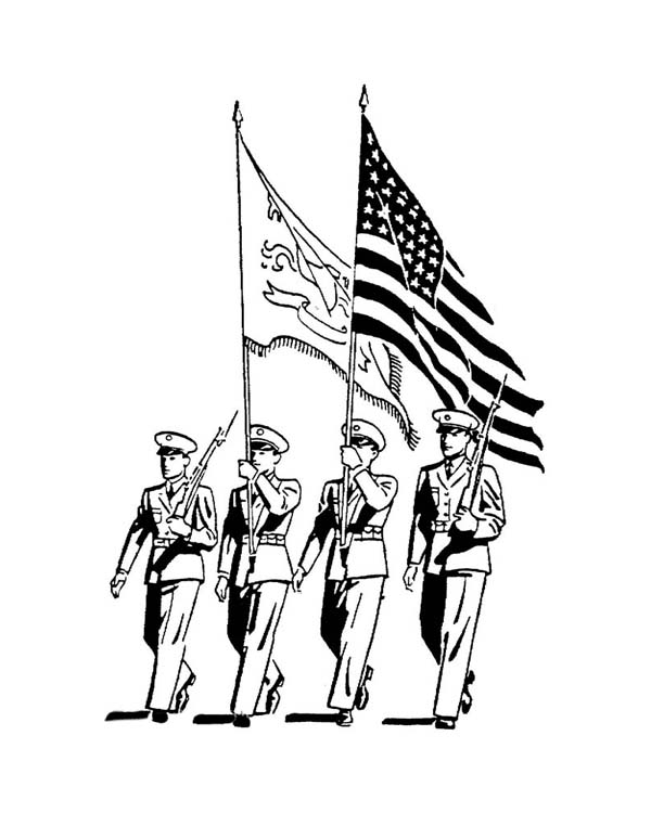 Veterans Day, : Celebrating Veterans Day with Officers March Parade Coloring Page