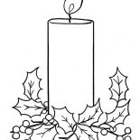Christmas, Christmas Candle On Light On Christmas Coloring Page: Christmas Candle on Light on Christmas Coloring Page