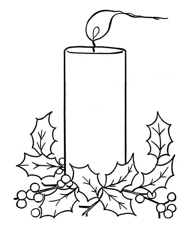 Christmas, : Christmas Candle on Light on Christmas Coloring Page