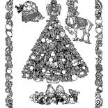 Christmas, Classic Christmas Illustration From Middle Ages On Christmas Coloring Page: Classic Christmas Illustration from Middle Ages on Christmas Coloring Page