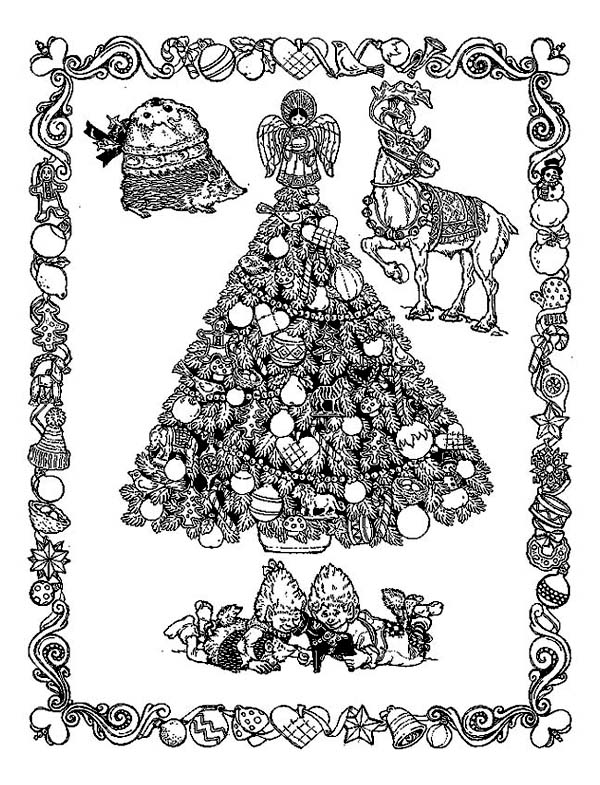 Christmas, : Classic Christmas Illustration from Middle Ages on Christmas Coloring Page