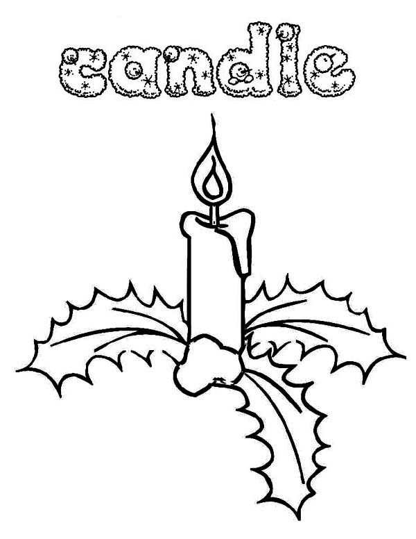 Christmas, : Gorgeous Christmas Candle and Mistletoe on Christmas Coloring Page