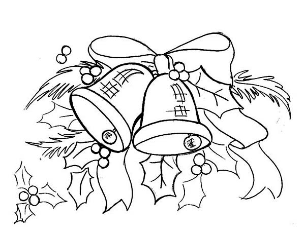 Christmas, : Gorgeous Christmas bell Ornament on Christmas Coloring Page