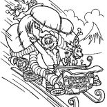 Christmas, Grumpy Grinch Stolen Santa Clauss Sleigh On Christmas Coloring Page: Grumpy Grinch Stolen Santa Clauss Sleigh on Christmas Coloring Page