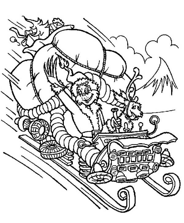 Christmas, : Grumpy Grinch Stolen Santa Clauss Sleigh on Christmas Coloring Page