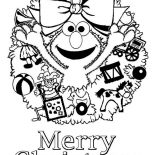 Christmas, Happy Merry Christmas From Elmo On Christmas Coloring Page: Happy Merry Christmas from Elmo on Christmas Coloring Page