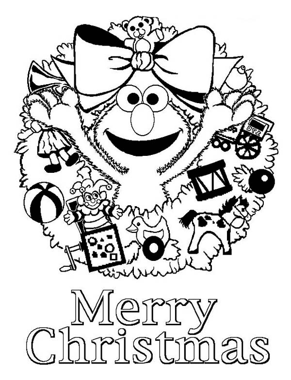 Christmas, : Happy Merry Christmas from Elmo on Christmas Coloring Page
