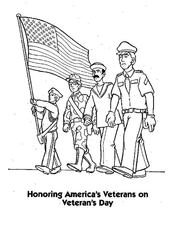 Veterans Day, : Honoring US Veterans by Celebrating Veterans Day Coloring Page