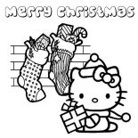 Christmas, Lots Of Christmas Presents From Santa Claus For Hello Kitty On Christmas Coloring Page: Lots of Christmas Presents from Santa Claus for Hello Kitty on Christmas Coloring Page