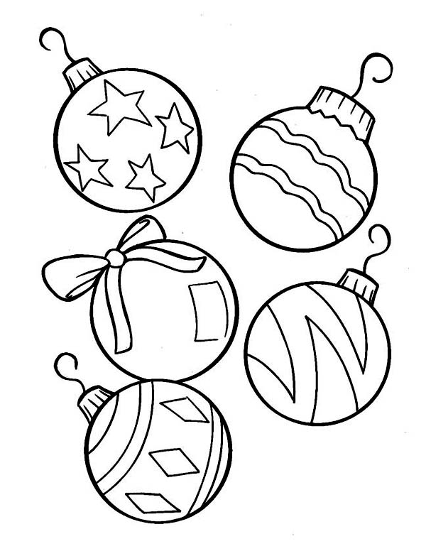 Christmas, : Lovely Christmas Ball Ornaments for Christmas Tree on Christmas Coloring Page