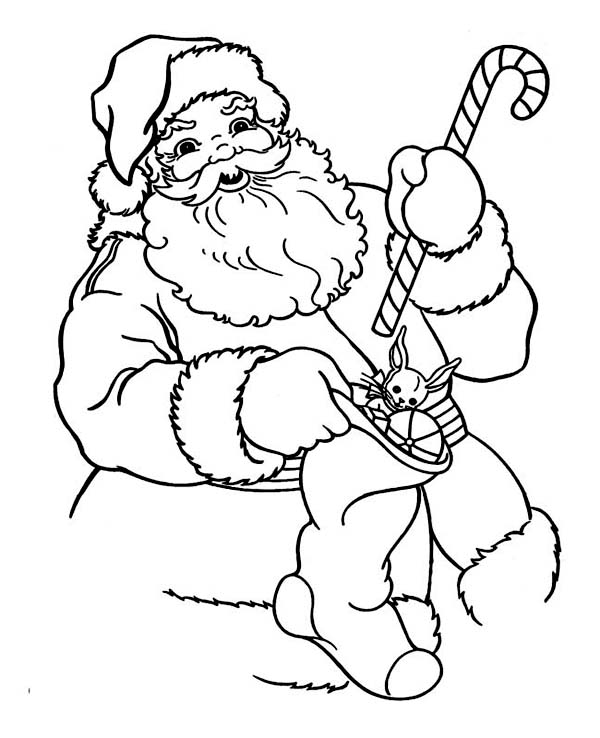 Christmas, : Santa Claus Holding a Candy Cane and Christmas Stocking on Christmas Coloring Page
