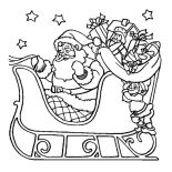 Christmas, Santa Claus Riding His Sleigh On Christmas Coloring Page: Santa Claus Riding His Sleigh on Christmas Coloring Page