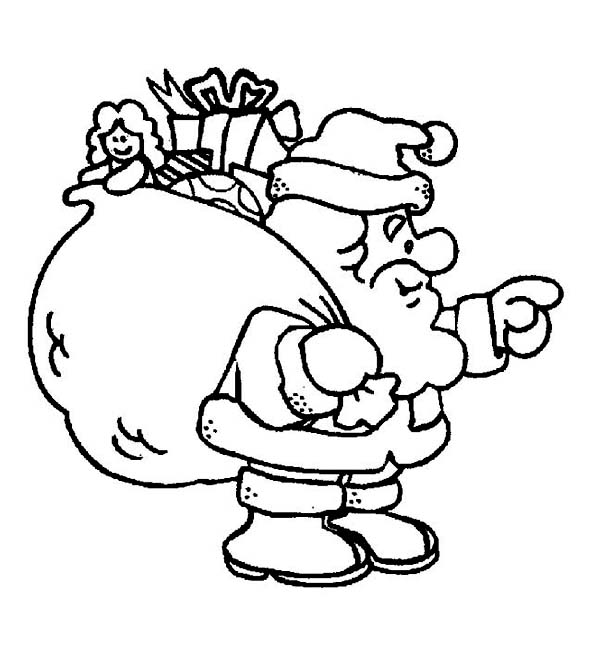 Christmas, : Santa Clauss with a Fat Christmas Sacks for Good Childrens on Christmas Coloring Page