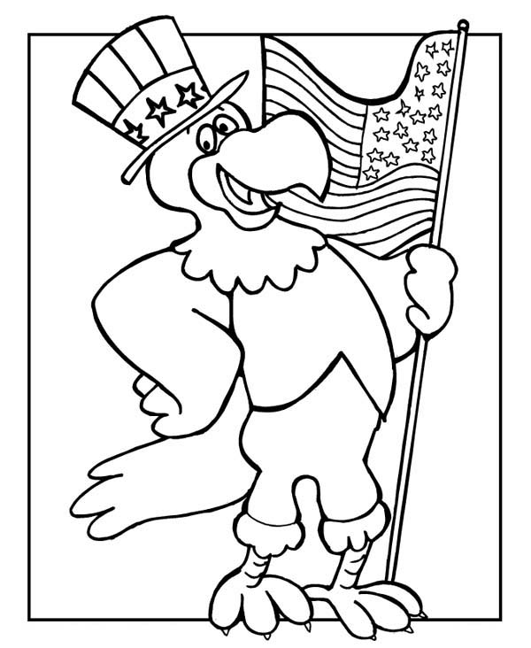 - The Eagle Holding US Flag Celebrating Veterans Day Coloring Page : Color  Luna