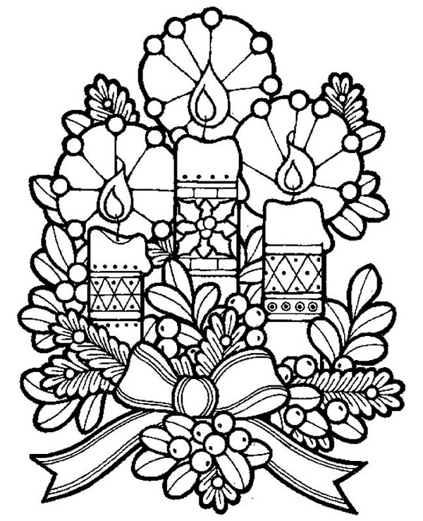 Christmas, : Three Lovely Candles for Christmas Eve on Christmas Coloring Page