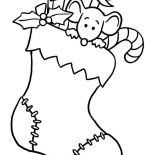 Christmas, Tiny Mouse Hidding On Christmas Stocking On Christmas Coloring Page: Tiny Mouse Hidding on Christmas Stocking on Christmas Coloring Page