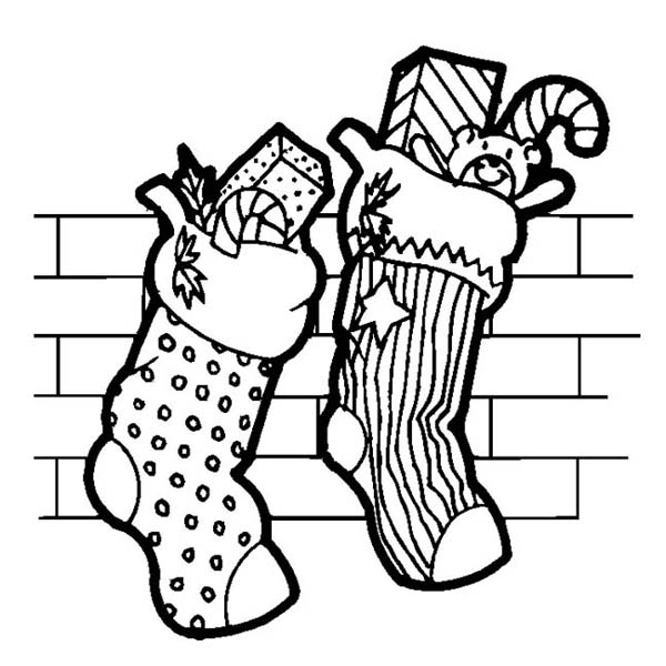 Christmas, : Two Christmas Stocking Full of Candy on Christmas Coloring Page