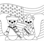 Veterans Day, Two Cute Chipmunks In Uniform Celebrating Veterans Day Coloring Page: Two Cute Chipmunks in Uniform Celebrating Veterans Day Coloring Page