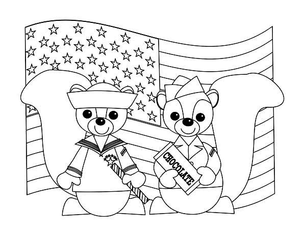 Veterans Day, : Two Cute Chipmunks in Uniform Celebrating Veterans Day Coloring Page