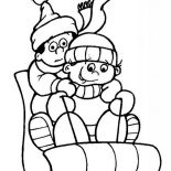 Winter, A Couple Of Childrens During Winter Season Outdoor Activity Coloring Page: A Couple of Childrens During Winter Season Outdoor Activity Coloring Page