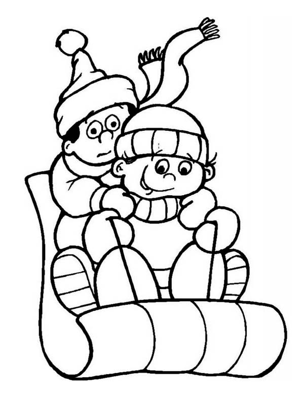Winter, : A Couple of Childrens During Winter Season Outdoor Activity Coloring Page
