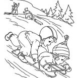 Winter, A Couple Of Childrens Playing Winter Season Sled Coloring Page: A Couple of Childrens Playing Winter Season Sled Coloring Page