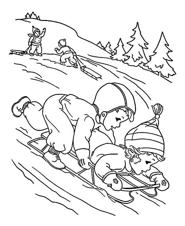 Winter, : A Couple of Childrens Playing Winter Season Sled Coloring Page