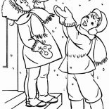 Winter, A Couple Of Happy Childrens Cheering The Winter Season Snow Coloring Page: A Couple of Happy Childrens Cheering the Winter Season Snow Coloring Page