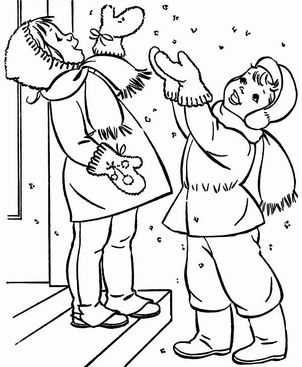 Winter, : A Couple of Happy Childrens Cheering the Winter Season Snow Coloring Page