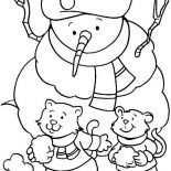 Winter, A Couple Of Young Little Cat Wearing A Boy Scout Hat On Winter Season Coloring Page: A Couple of Young Little Cat Wearing a Boy Scout Hat on Winter Season Coloring Page
