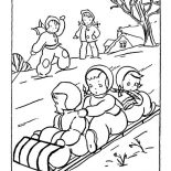 Winter, A Group Of Childrens Playing Sled On Winter Season Coloring Page: A Group of Childrens Playing Sled on Winter Season Coloring Page