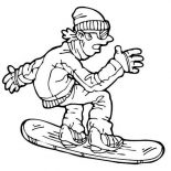 Winter, A Man Playing Snowboard With Full Winter Season Outfit Coloring Page: A Man Playing Snowboard with Full Winter Season Outfit Coloring Page