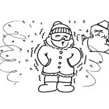 Winter, A Man Shivering On Extreme Cold Winter Season Coloring Page: A Man Shivering on Extreme Cold Winter Season Coloring Page
