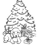 Christmas Trees, A Puppy Sitting In Front Of Christmas Trees Coloring Pages: A Puppy Sitting in Front of Christmas Trees Coloring Pages