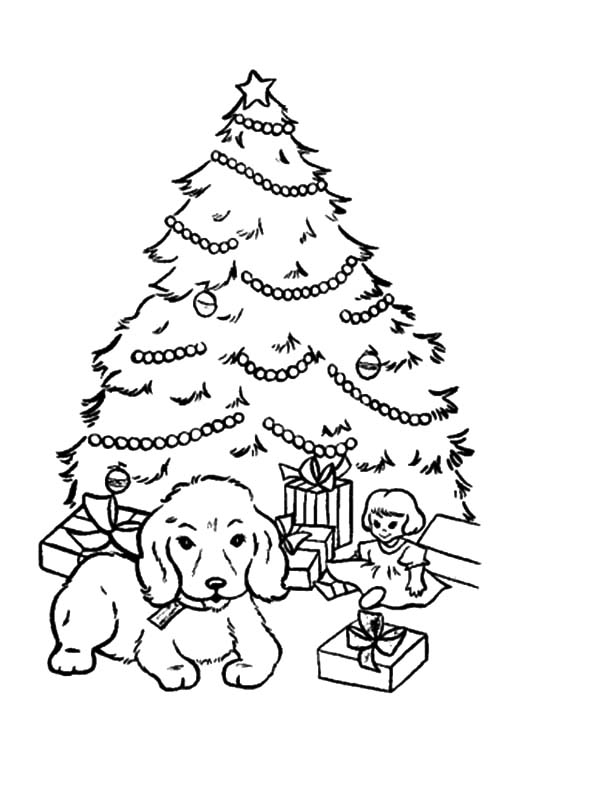 Christmas Trees, : A Puppy Sitting in Front of Christmas Trees Coloring Pages