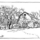 Winter, A Typical Coutryside Barn On Winter Season Coloring Page: A Typical Coutryside Barn on Winter Season Coloring Page