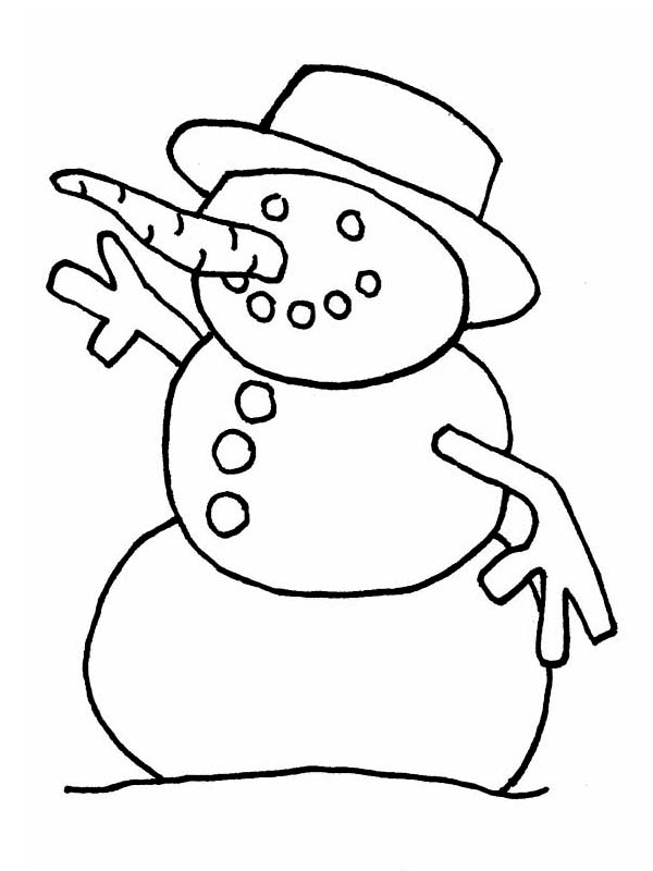 Winter, : A Wierd Mr Snowman with Rounded Hat on Winter Season Coloring Page